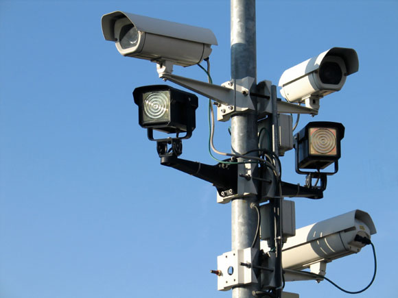 commercial surveillance cameras on a pole